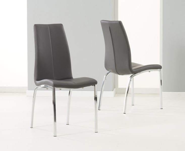 Carsen Grey Dining Chair Pair Leather ChairsDining Table