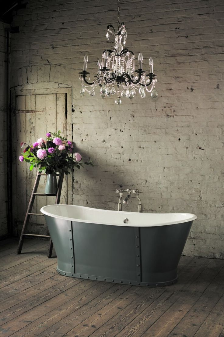 Splendid Rustic French Style  Bathroom Interior with luxury chandelier rough walls and wooden floors