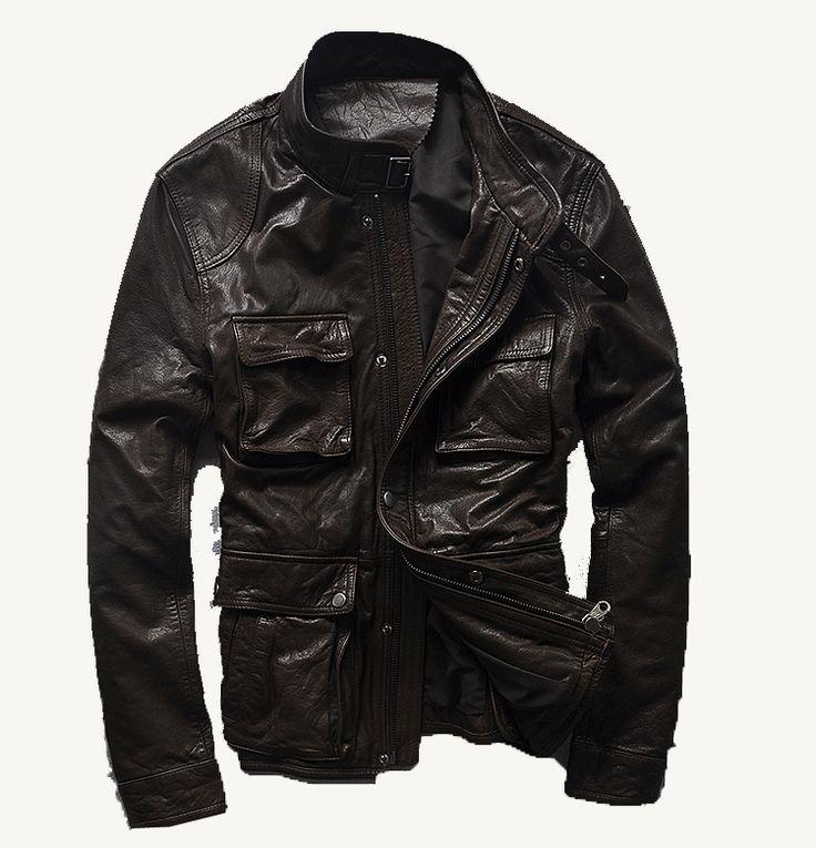M65 альфа мужчины первый слой кожи воротник тонкий мужские кожаные куртки охота куртка