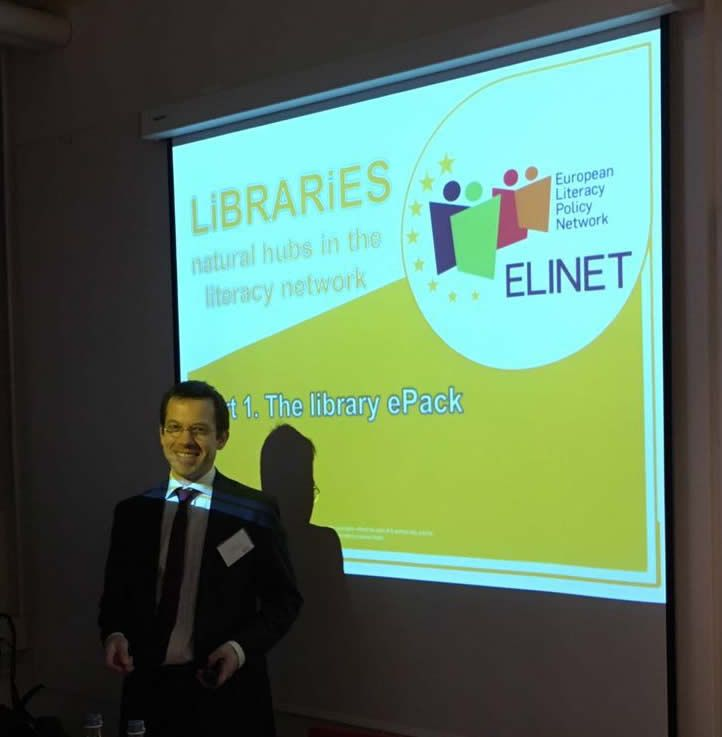 """""""Libraries are the natural hubs in the literacy network"""" - Vincent Bonnet, EBLIDA Director is speaking about """"The library ePack"""" at ELINET European Literacy Conference 2016 in Amsterdam."""