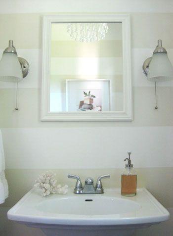 Love these stripes!Bathroom Stripes, Powder Room, Stripes Bathroom, Stripes Wall, Guest Bathroom, Half Bath, Bathroom Wall, Bathroom Ideas, Design Bathroom