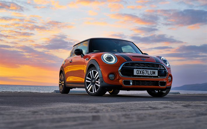 Download wallpapers Mini Cooper S, 2018, front view, new cars, coupe, red Cooper S