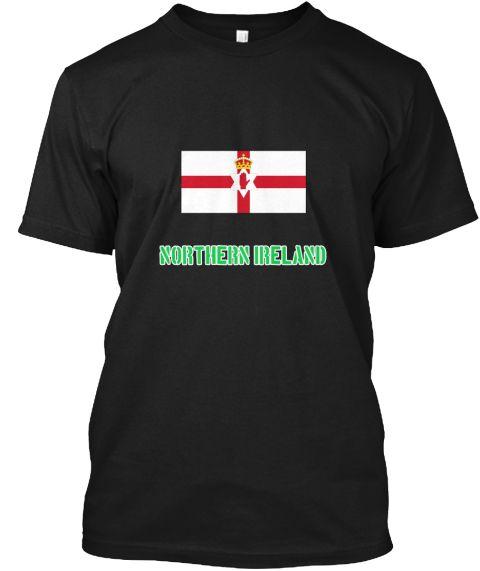 Northern Ireland Flag Stencil Green Desi Black T-Shirt Front