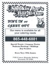 A great place to eat in the Pigeon Forge, Gatlinburg, Smokey Mountain area.  Smokin Joes Bar-B-Que Townsend TN (865) 448-6881