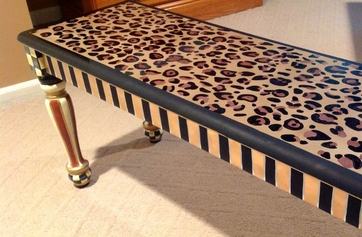 Painted Bench // Whimsical Painted Bench // by paintingbymichele