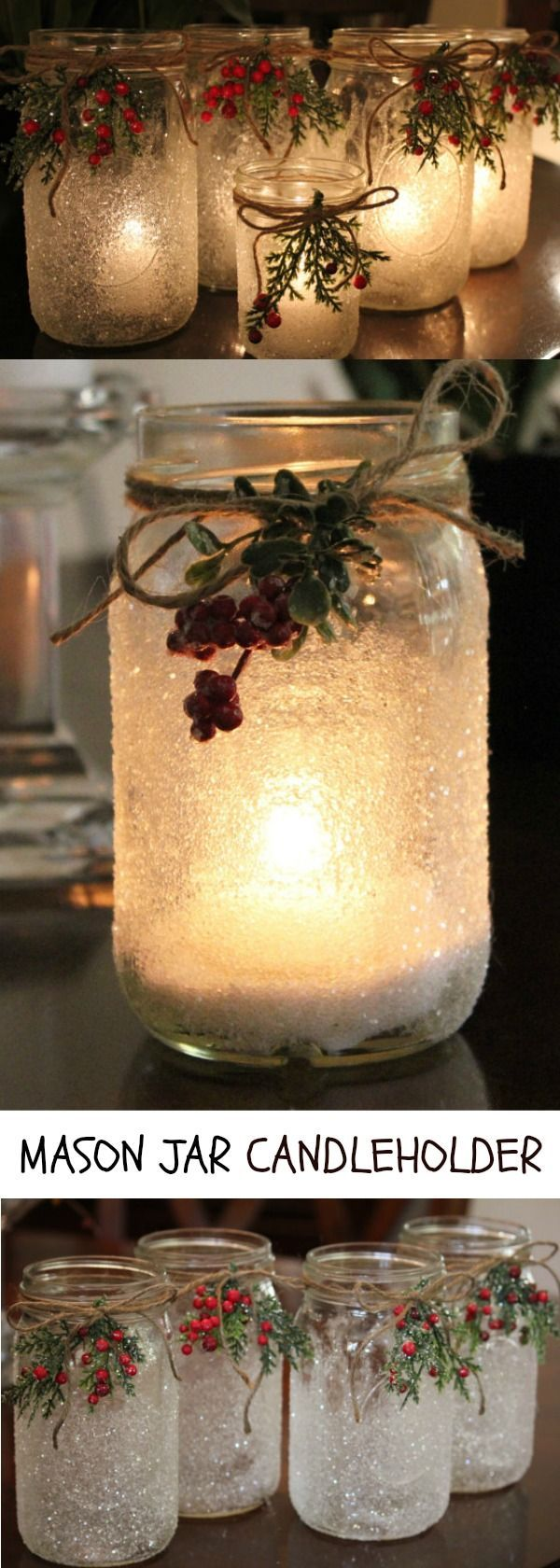 Beautiful Love these Christmas/holiday themed mason jar candleholder.  #christmas #masonjar #candleholder #ad