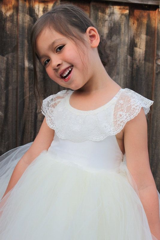 CANDACE: Custom Made Lace Crisscross Back Flower Girl Dress