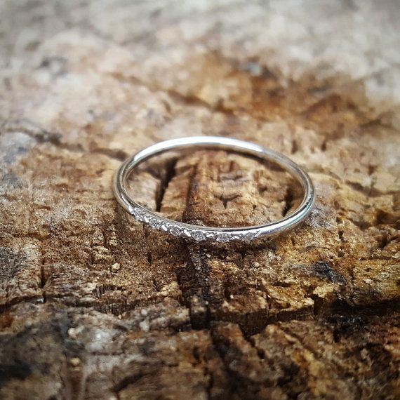 14K White Gold Wedding Band Pave 14K White Gold by TwoFeathersNY