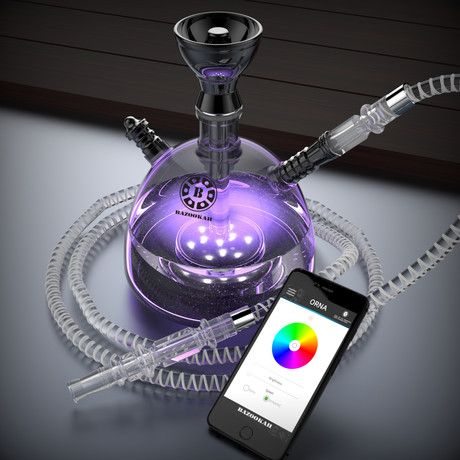 Narshisha // Modern Acrylic Hookah + Bluetooth LED // Black