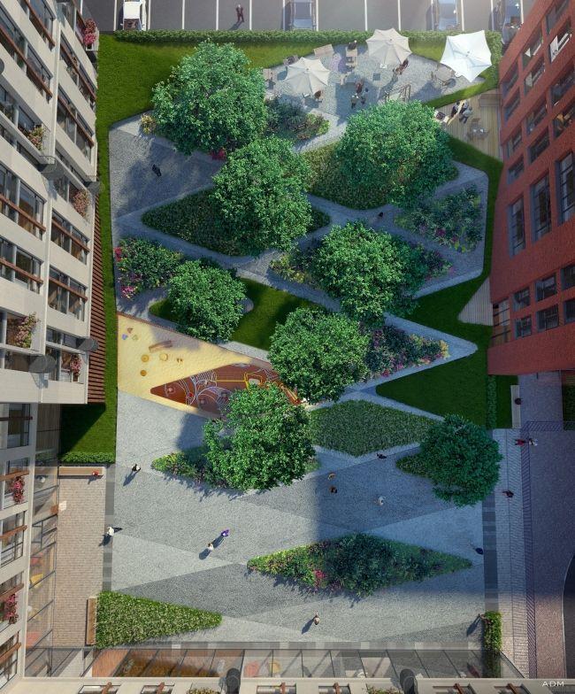 Жилой дом на ул. Новослободская. Благоустройство двора. Проект, 2016 © ADM