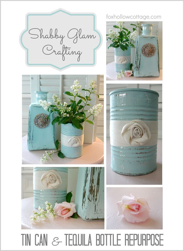 DIY::Shabby Glass Bottle and Tin Can Craft - by  @Shannon Bellanca Bellanca Fox {Fox Hollow Cottage}