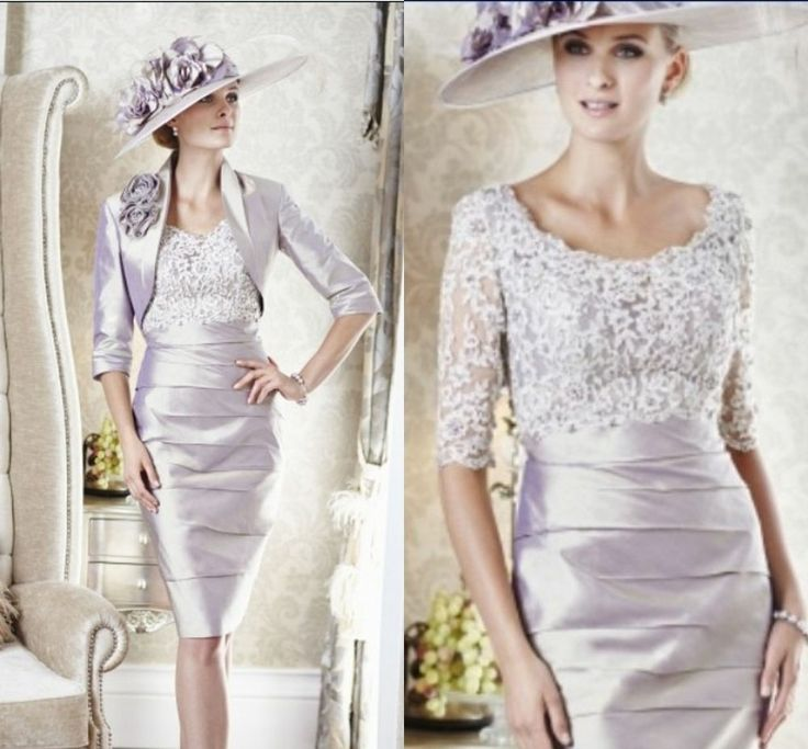 Knee-Length Lace Silver Mother Of The Bride Outfits
