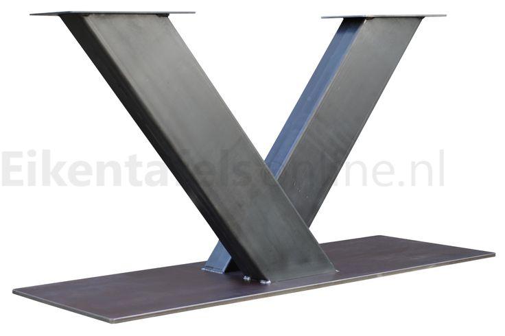 Tafelonderstel metaal V-poot | eikentafelsonline.nl