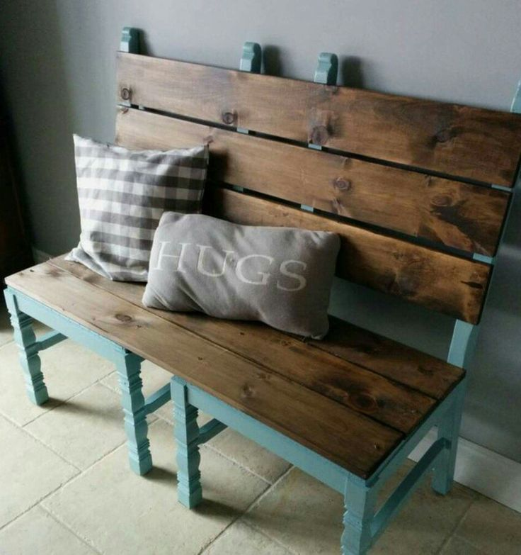 Recycled chairs.  Love this idea for a great bench seat.