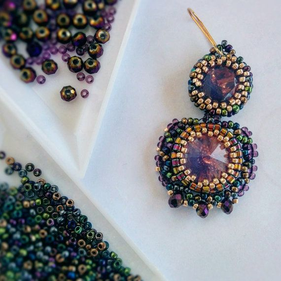 Amazing bead woven statement earrings  Rose gold  by TreGrazie