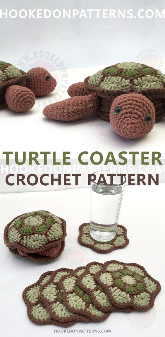 Turtle Crochet Pattern for a cute set of coasters! 6 shell shaped coasters that store neatly inside a cute turtle body. When the coasters are in use, the body flips inside out so the turtle can hide away in it's shell!