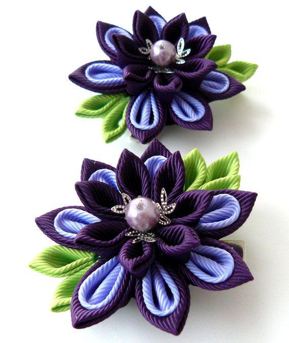 Kanzashi  Fabric Flowers. Set of 2 hair clips. Plum and от JuLVa, $13.50