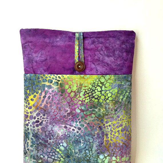 Purpe MacBook Air Case, 13 .3 inch Laptop Bag, Mac Book Air 13 Retina Sleeve, Hand Dyed Batik Boho Fabric Cover Bohemian Pouch Sac