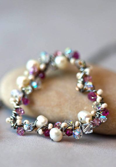 Pearls and Pink Crystal Wrapped Heart Sterling