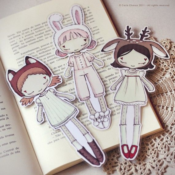 Three+Cute+Friends+set+of+bookmarks+by+ribonitachocolat+on+Etsy