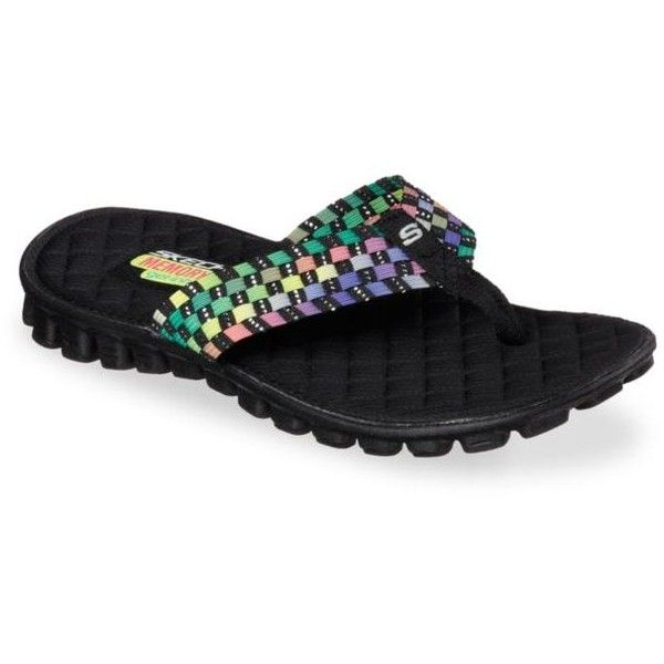 Skechers  Ez Flex Cool Beach Weave Sandal ($18) ❤ liked on Polyvore featuring shoes, sandals, beach footwear, stretchy shoes, braided sandals, skechers footwear and beach shoes