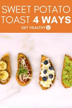 Avocado toast has been all the rage, but now sweet potatoes are getting their time in the sun, er toaster… These vegetarian, gluten-free toasts use sweet potatoes as the base, cut vertically so you can put them in the toaster and then topped with whatever ingredient you'd like. We love the sweetness of the almond butter/banana combo but also love the pizza version for a fun mid-day snack. And if you can't let go of you avocado toast quite yet, we've got an avocado sweet potato toast for you…