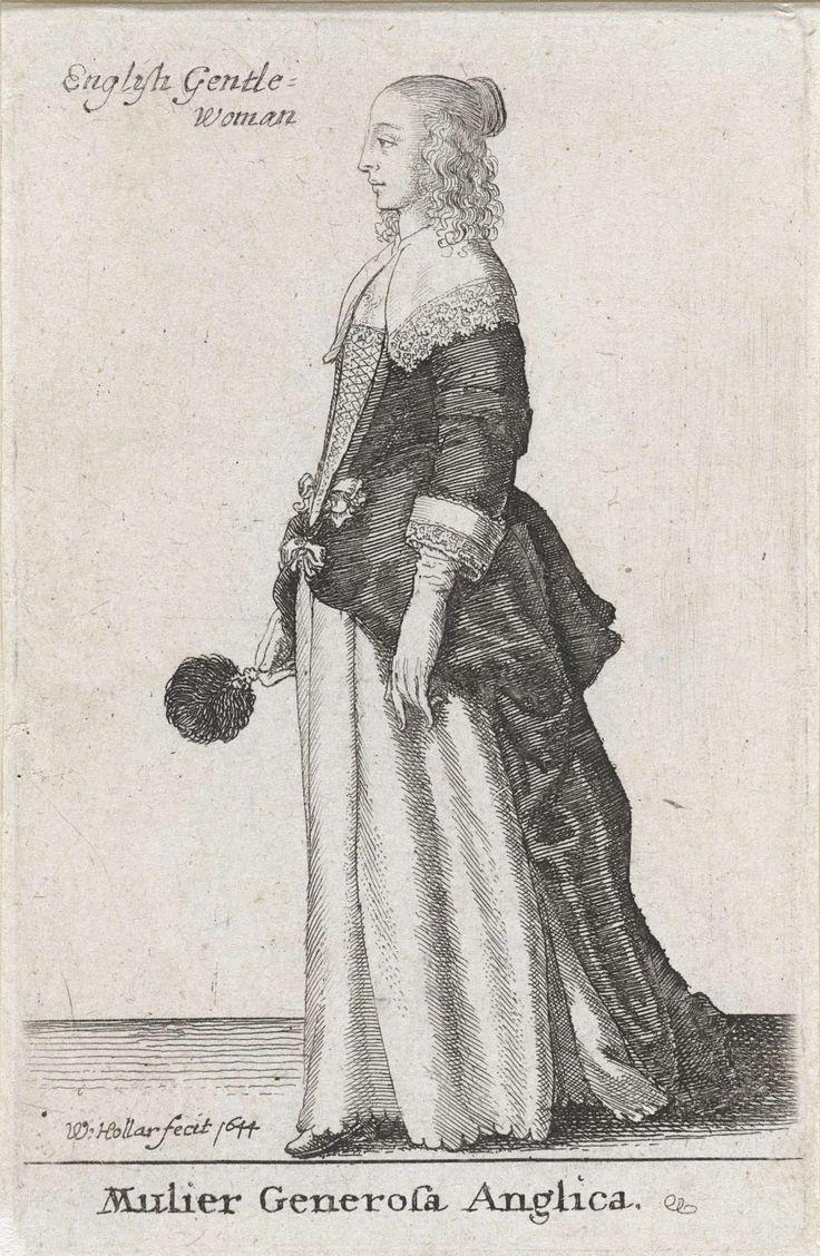Wenceslaus Hollar   Mulier Generosa Anglica, Wenceslaus Hollar, 1644   Engelse vrouw van stand, in profiel naar links, gekleed in een donker overkleed en een licht onderkleed met geschulpte rand. Over de schouders valt een platte kraag, afgezet met kant. Handschoenen aan en in de rechterhand een veren waaier. Het haar valt in pijpenkrullen langs het hoofd en is van achteren in een knotje gedraaid.