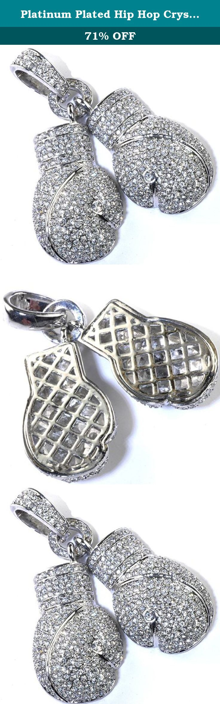 Platinum Plated Hip Hop Crystals Iced Micro Pave Fighting Gloves Pendant. This lovely Hip Hop pendant is iced out. All our products with FREE gift box and 100% Satisfaction guarantee. SKU # 24084-W.