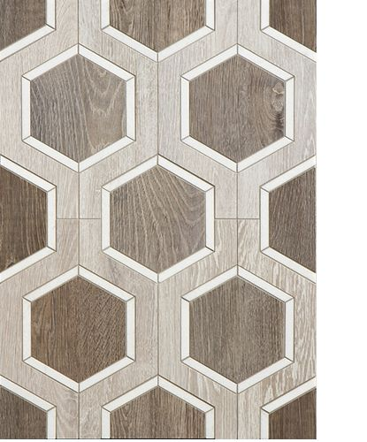 The Buckle Pattern in Sterling Row is also available in Linen, the brown and beige porcelain is accented with Thasos White Marble.