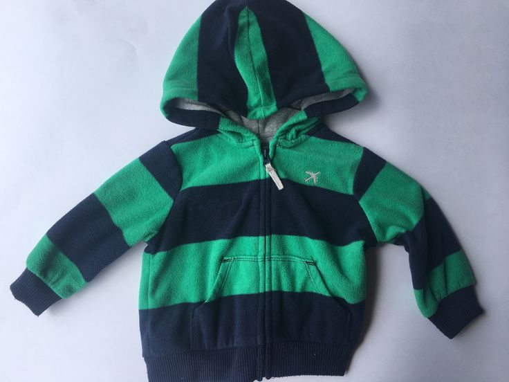 Carter's-Green and Navy Striped Zip Up Hoodie-Size:6 months