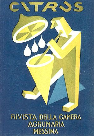Fortunato Depero (1892-1960, Italy), 1920s, Citrus, Revista della Camera Agrumaria, Messina.