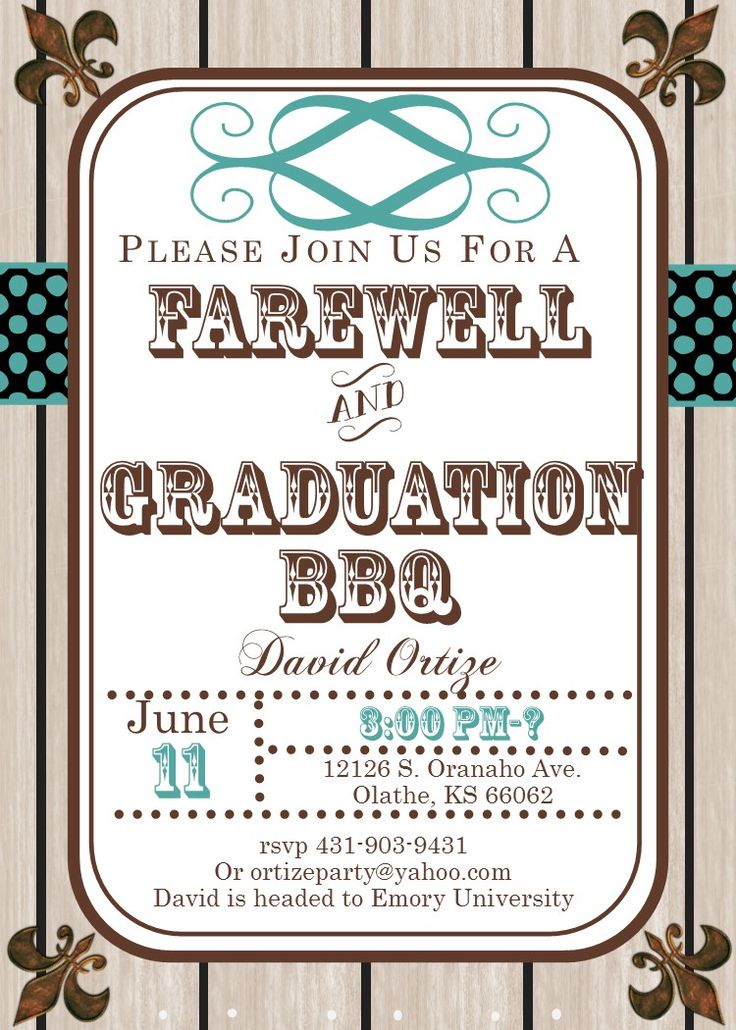 graduation party invitations high school or college graduation and or farewell 2017 woodgrain - Going Away Party Invite