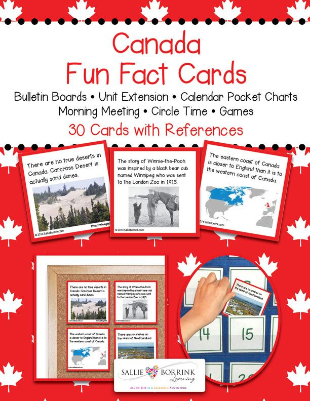 Discover fascinating facts about Canada as part of your Canada unit! Canada Fun Fact Cards can be used for centers, calendar time, games, bulletin boards, and circle time. Make these fun facts part of your Canada unit!