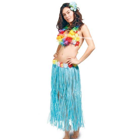 Hawaii rok tropical in de kleur turquoise. Met de hawaii rok tropical maak je je zomerse hawaii outfit compleet. De hawaii rok heeft een klittenband sluiting en is met bloemetjes versierd. Formaat tropical rok: 80 cm. Voor meerdere hawaii artikelen kunt u ook bij ons terecht.