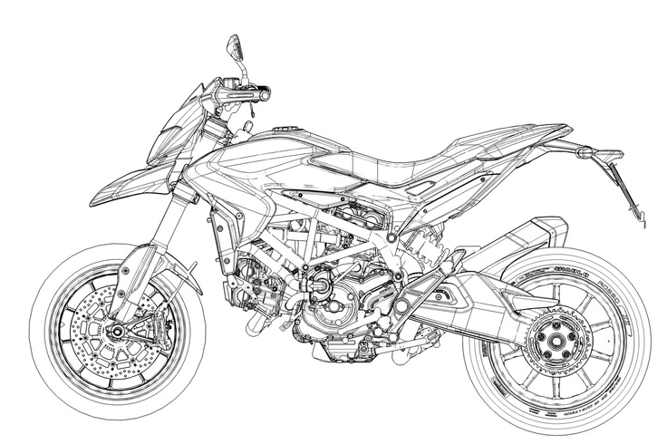 cad drawing  ducati hypermotard and ducati on pinterest