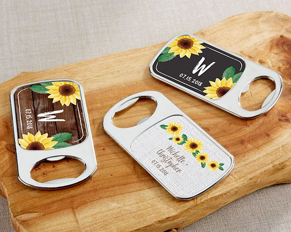 Rustic Wedding Favors - Personalized Sunflower Silver Bottle Opener with Epoxy Dome - Sunflowers - Unique Rustic Wedding Invitations.com #rusticweddings #rusticweddinginspiration