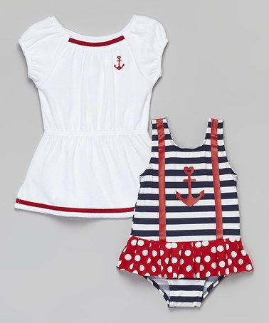 Love this Navy Nautical One-Piece & Cover-Up - Infant, Toddler & Girls on #zulily! #zulilyfinds