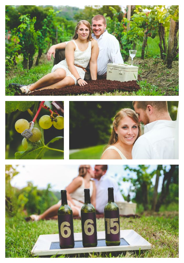 Wine Themed Engagement Session | Stonebrook Winery, Camp Springs, Kentucky  ©L Hunley Photography  Awesome Save the Date Idea with wine bottles