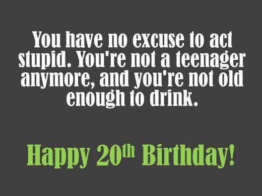 Funny 20th Birthday Message