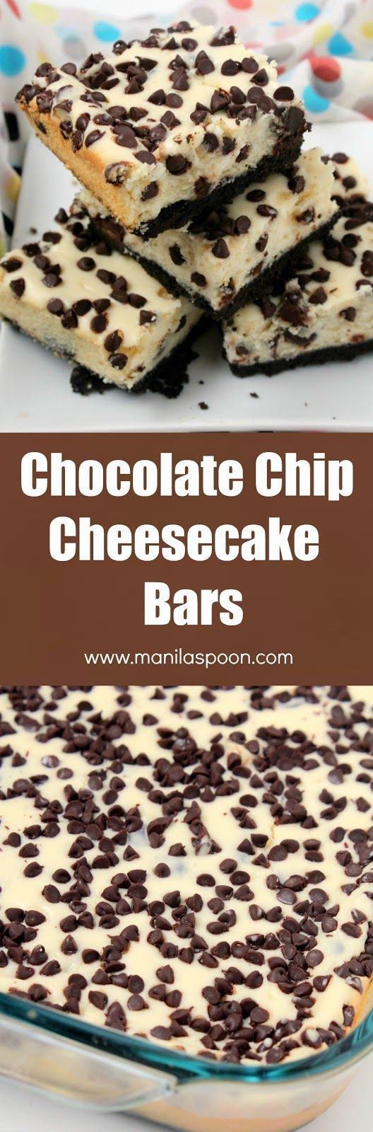 Craving chocolate and cheesecake? These delicious choco chip cheesecake bars are the solution! Easy recipe that you will make again and again. | http://manilaspoon.com