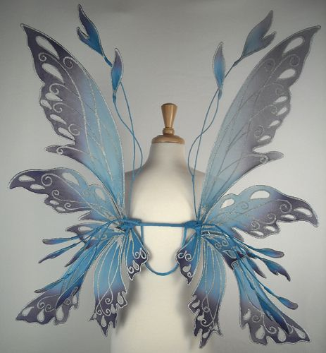 Really cool !!!  Posie wings in blue and purple by On Gossamer Wings, via Flickr - attach to a child's chair
