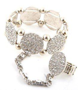 Elastic Rhinestone Bracelet & Ring Set - Hand Chain / Slave Bracelet - Silver Arras Creations. $40.00