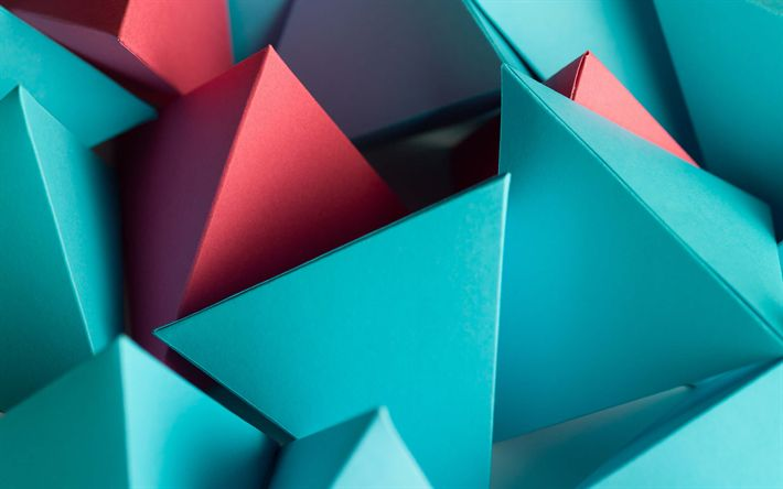Download wallpapers pyramids, triangles, 3d art, shapes geometric, geometry