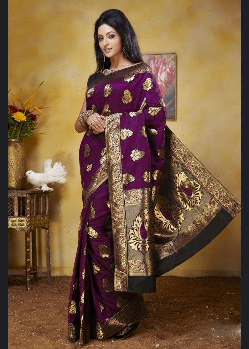 Marvellous Purple Art Silk Saree