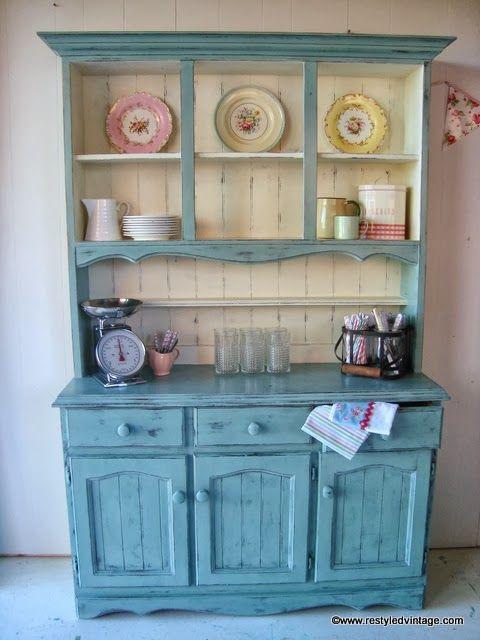 Restyled Vintage: Farmhouse Hutch Dresser in Duck Egg and Old White - Best 25+ Vintage Hutch Ideas On Pinterest Scandinavian Door Mats