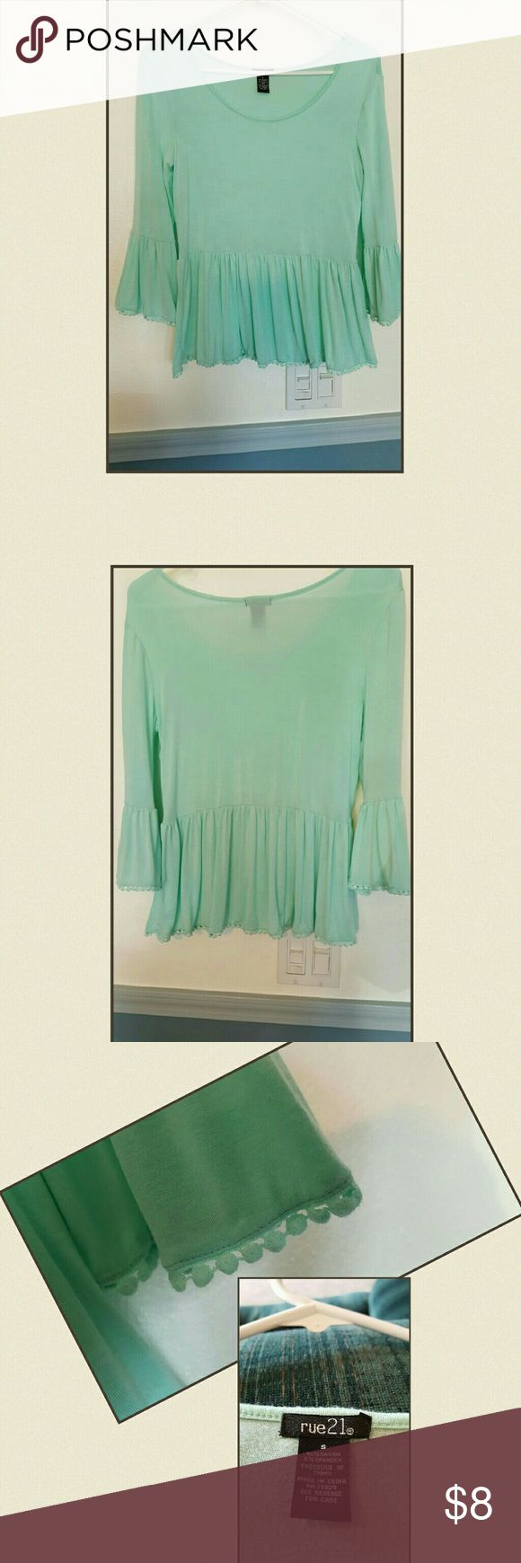 """RUE 21 ~ LIME GREEN BABY DOLL TOP Cute top, that pairs with any kind of jeans or white pants. 100% Cotton,  size small, lenght 19 1/2"""", width 14"""". Rue 21 Tops Blouses"""