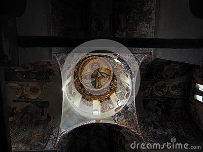 Byzantine icon on dome of Agios Antonios (Saint Anthony) church in Kesariani Monastery, on the slopes of Mount Hymettus, Athens, Greece.