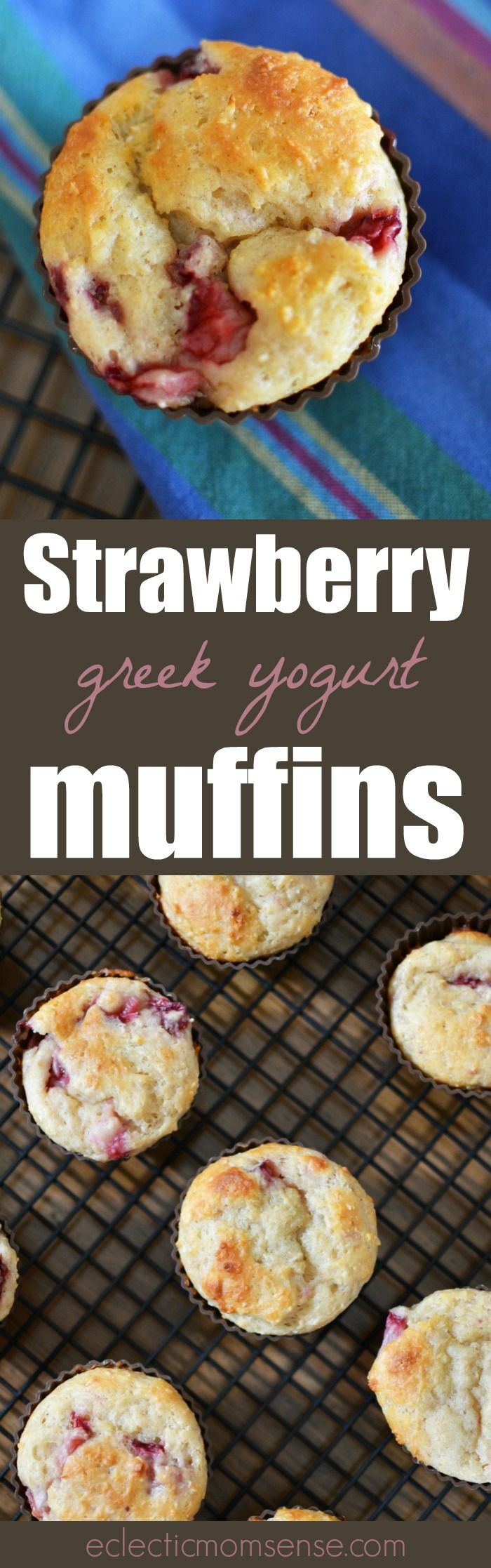 Strawberry Greek Yogurt Muffins | Deliciously moist and packed with protein and strawberries.  #recipe