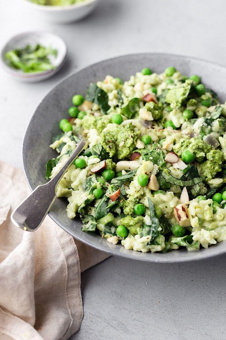 Vegan Spring Greens Leek Pea And Pesto Risotto