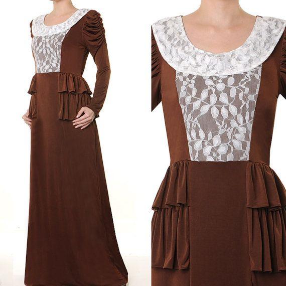 Tiered Peplum Lace Muslim Abaya Jersey Lace Long by MissMode21